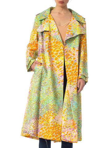 1960S Multicolor Printed Rayon Twill Coat