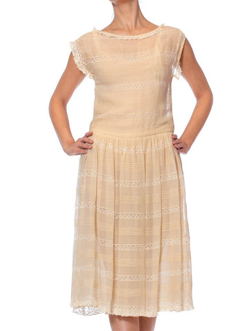 1920S Cream Silk Chiffon & Antique Lace Pintuck Stripe Dress With Little Ruffles