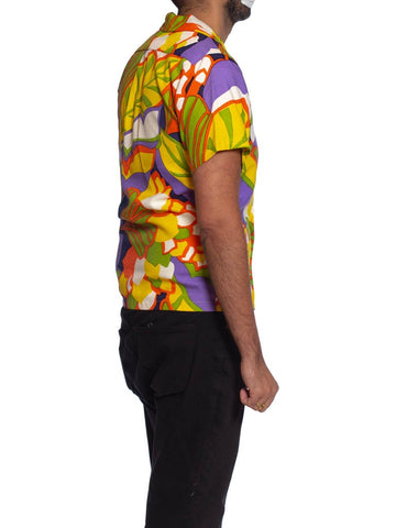 1960S Psychedelic Poly Blend Men's Shirt Custom Made In Hawaii