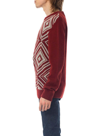 1970S HERMES Maroon & Silver Cashmere Men's Sweater