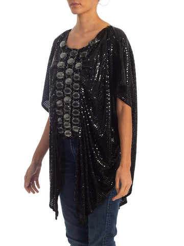 1970S Paco Rabanne Black Cotton Knit Draped Top With Giant Chainmail Front & Back