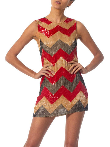 1990S Beaded Silk Chiffon Zig-Zag Cocktail Dress