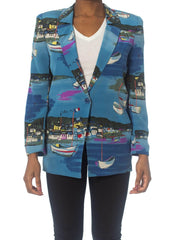 1990S Nautical Silk Crepe De Chine Unlined Blazer