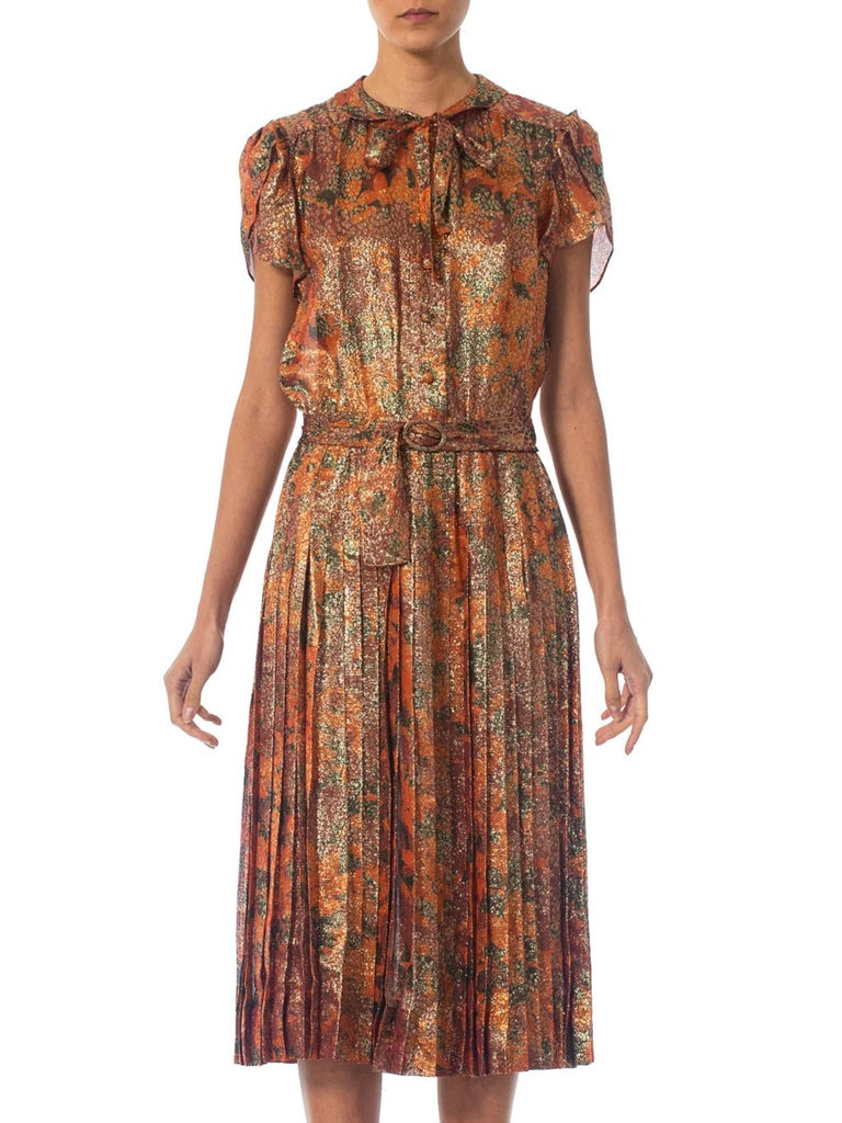 1970S Orange & Brown Silk Lurex Day To Night Cocktail Dress