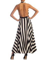 1970S Black & White Striped Silk Backless Halter Gown With Slit