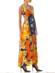 Morphew Collection Japanese Kimono Silk Gown With Slit