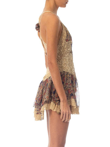 Morphew Collection Silk Chiffon & Victorian Lace Mini Dress Entirely Sewn By Hand