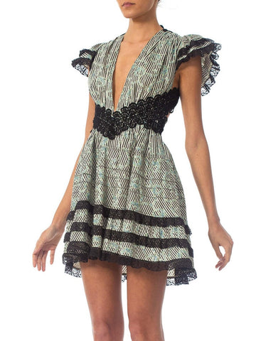 Victorian Morphew Collection Cotton & Lace Mini Dress