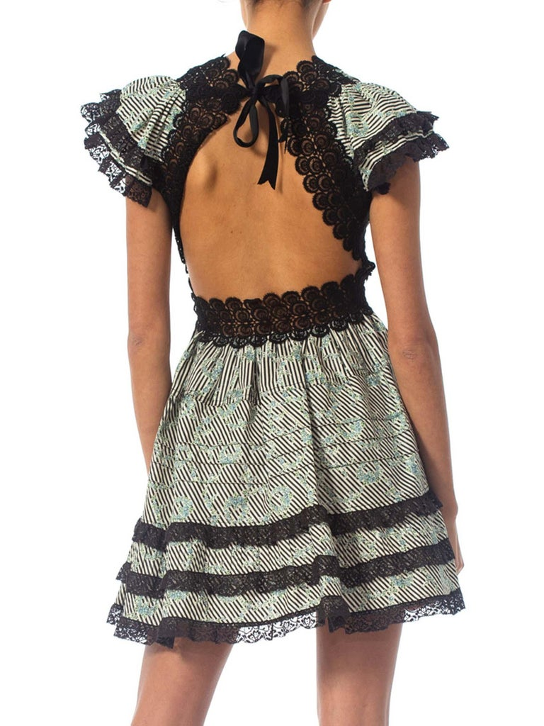 MORPHEW COLLECTION Black & White Victorian Cotton Backless Mini Dress With Ruffled Lace Trim