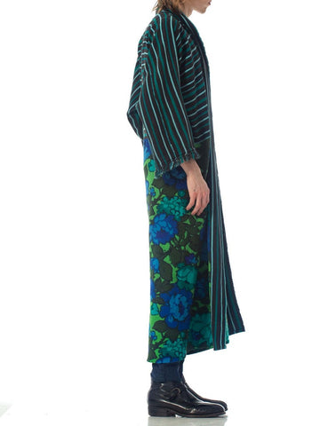 MORPHEW COLLECTION Black & Green Cotton Duster Coat Made From African Indigo 1960S Floral Upcycled Fabrics