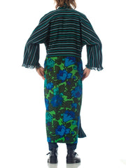 Morphew Collection Cotton Duster Coat Made From African Indigo & 1960S Floral Upcycled Fabrics