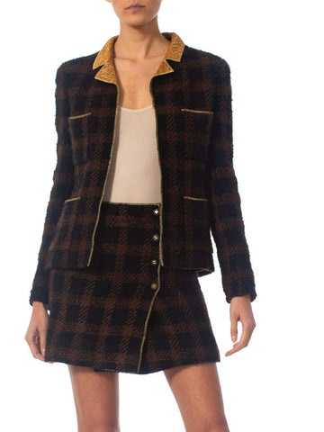 1990S CHANEL Black & Brown With  Gold Lamé Wool Mini Skirt Suit Lined In Silk