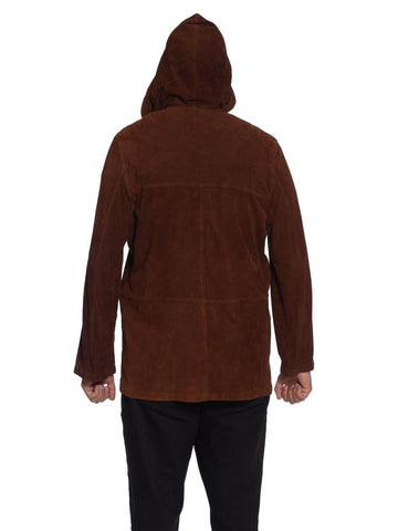 1990S Cigar Brown Suede Men's Hoodie Jacket