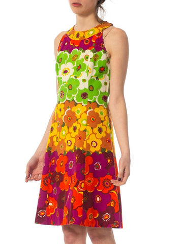 1960S Floral Cotton Mod Dress