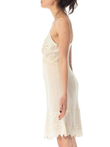 1930S Ivory Hand Embroidered Silk Crepe De Chine Couture Slip Dress With Satin Appliqués