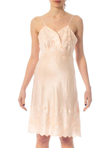 1940S Baby Pink Hand Embroidered Silk Charmeuse Bias Cut Slip Dress