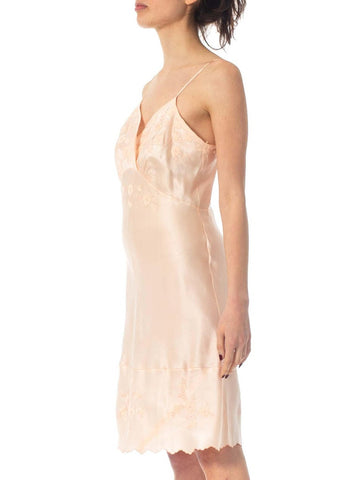 1940S Baby Pink Hand Embroidered Silk Charmeuse Bias Cut Slip Dress From Paris