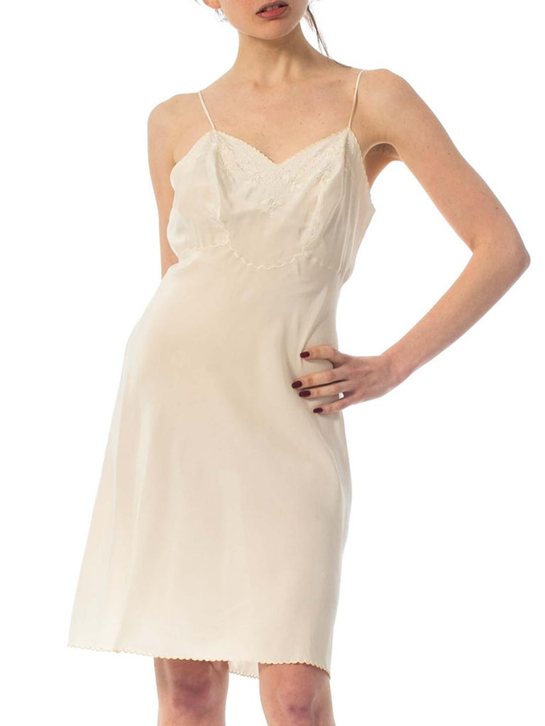 1930S Creme Hand Embroidered Silk Crepe De Chine Slip Dress