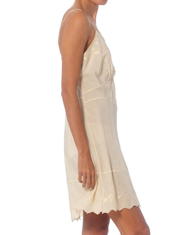 1940S Ivory Hand Embroidered Silk Crepe De Chine Bias Cut Mini Slip Dress