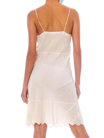 1940S Creme Bias Cut Silk Crepe De Chine Slip Dress With Satin Appliqués