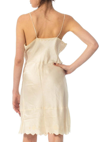 1930S Ivory Hand Embroidered Silk Charmeuse Slip Dress