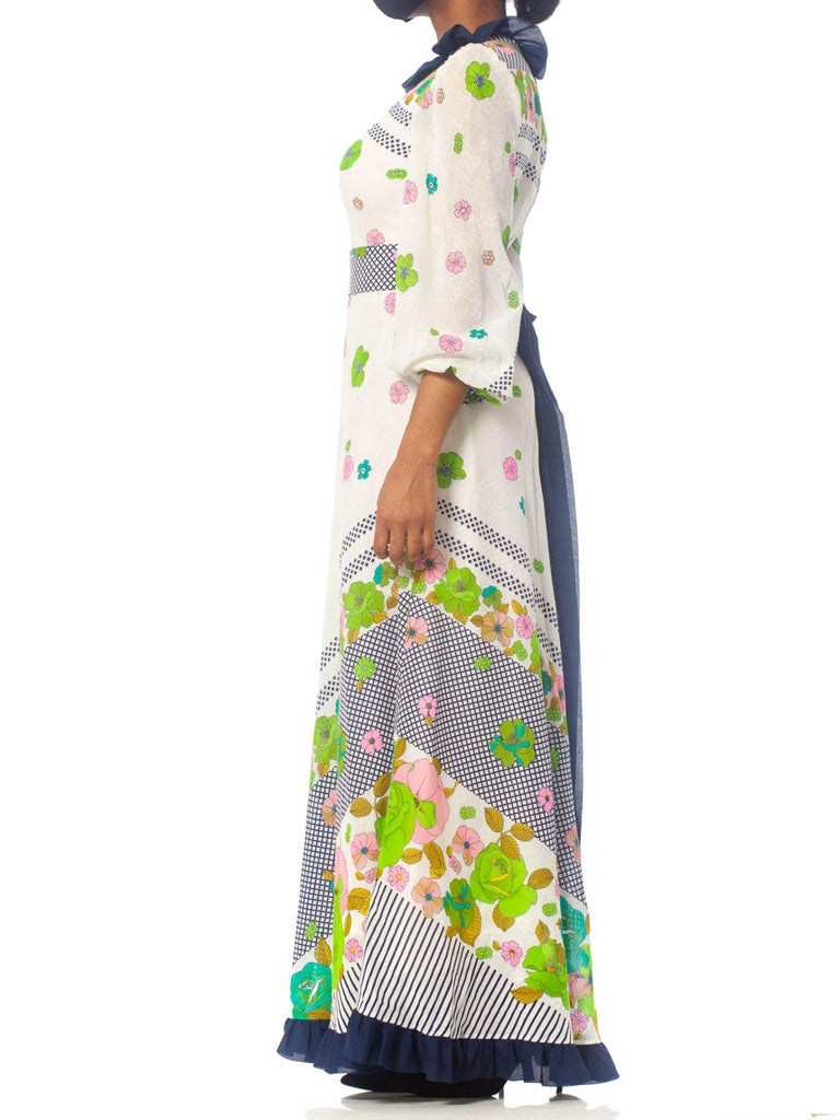 1970S Floral Cotton Voile Maxi Dress With Sleeves & Bow