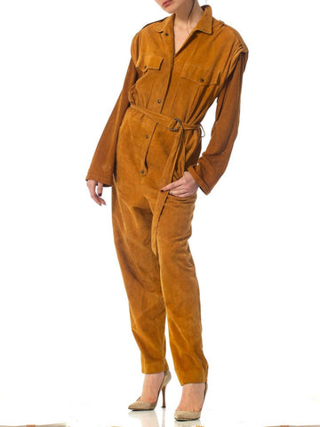 1970S Camel Brown Suede Jumpsuit With Sash Belt