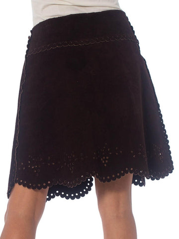 1960S Brown Suede Mini Skirt With Lace-Like Punched Hole Design