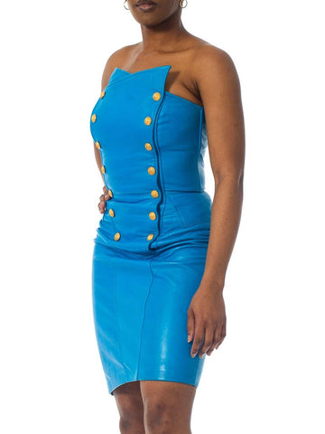 1980S Teal Buttery Soft Leather Strapless Dress With Gold Military Snap Buttons