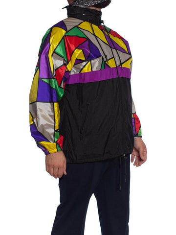 1990S Multicolor Polyester Mosaic Colorblocked Windbreaker Jacket