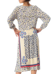 1970S Blue & White Floral Polyester Jersey Boho Dress
