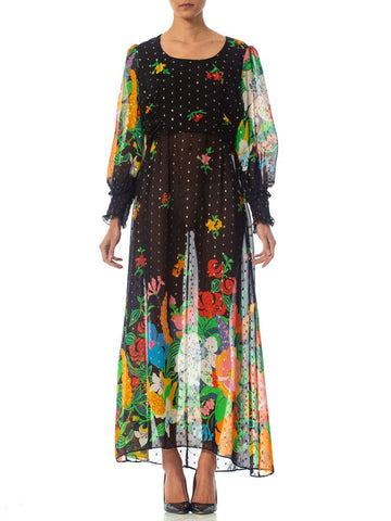 1970S Floral Poly Lurex Chiffon Boho Dress