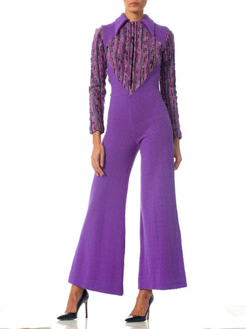 1970S Purple Wool Knit Disco Ski Jumpsuit
