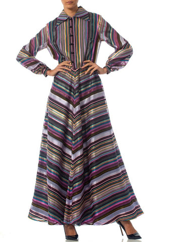 1970S Purple Striped Poly Blend Satin Dress