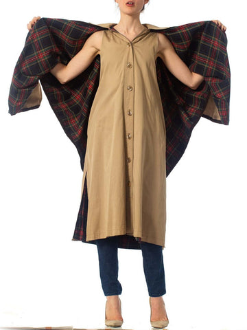 1970S YVES SAINT LAURENT Poly/Cotton Trench Coat With Attached Cape Lined In A Red Cotton Plaid