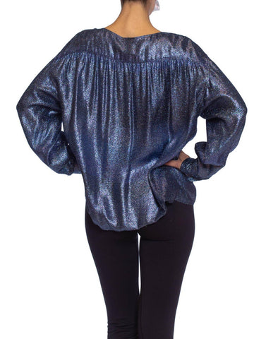 1980S PER SPOOK COUTURE Teal Metallic Silk Lurex Chiffon Military Styled Blouse