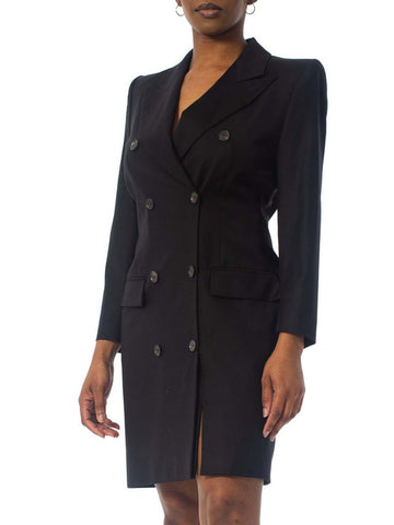 1990S Alexander Mcqueen Givenchy Black Wool Blazer Coat Dress With Slit & Pagoda Shoulders Szl