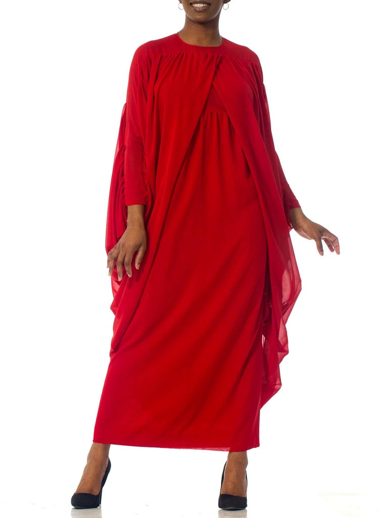 1980S Lanvin Red Polyester Jersey Giant Draped Sleeve Cocktail Dress