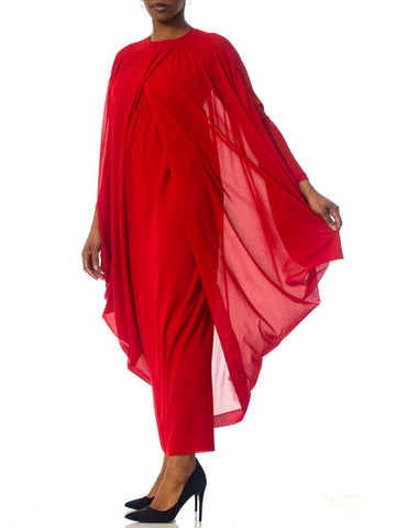 1980S LANVIN Lipstick Red Polyester Chiffon Giant Draped Sleeve Gown