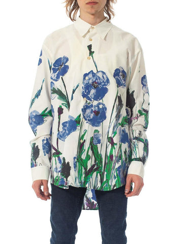 2000S Prada White Cotton Shirt With Oversized Floral Print