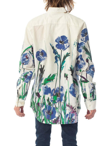 2000S PAUL SMITH White Cotton Men's Shirt With Oversized Blue Floral Print