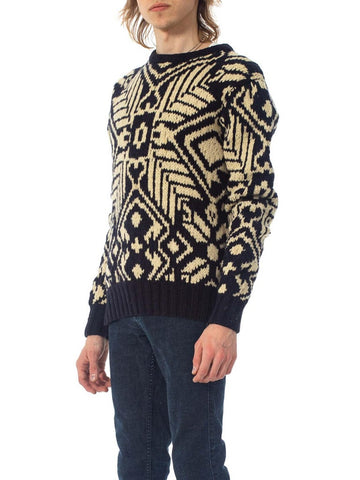 1980S Ralph Lauren Navy & Ivory Wool Hand Knit Nordic Pattern Sweater