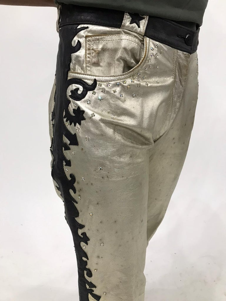 Morphew Collection Gold & Black Men's Western Rockstar Pants In Vintage Leather With Swarovski Crystals
