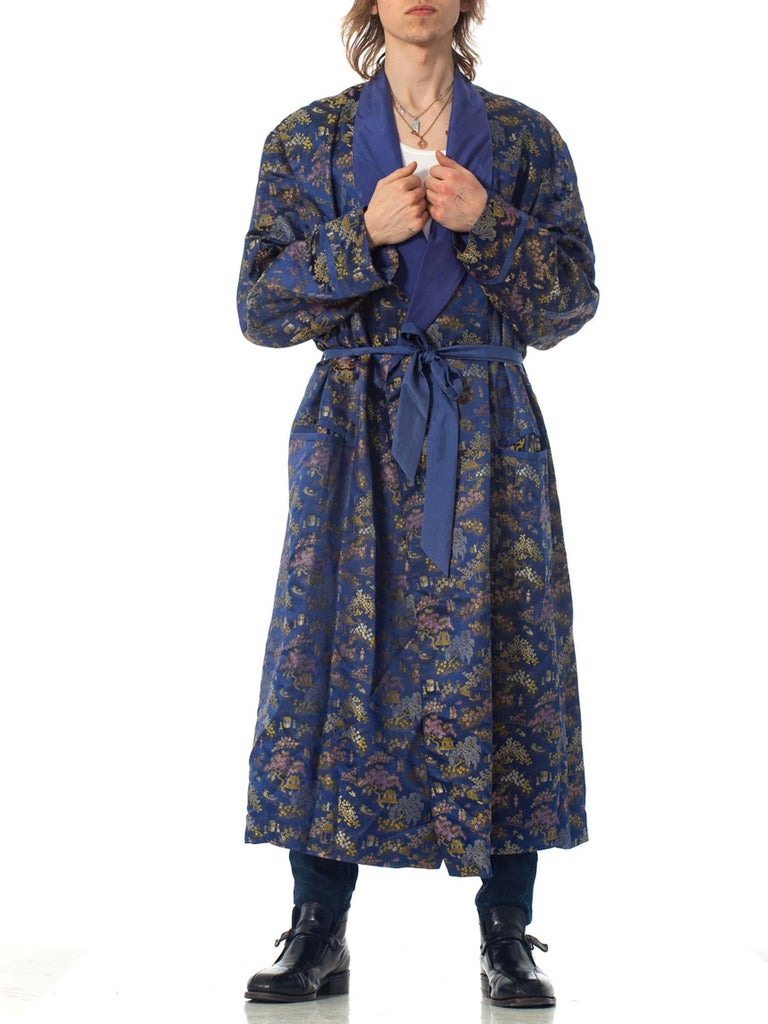 1960S Blue & Gold Rayon Silk Asia Jacquard Mens Lined Smoking Duster Robe