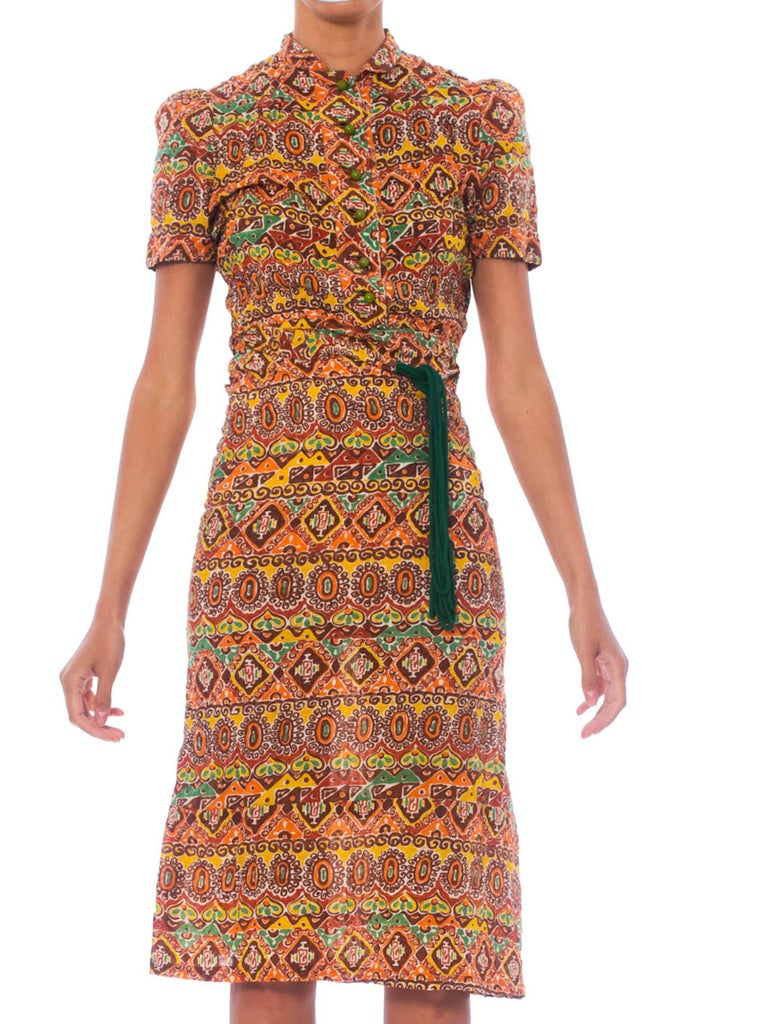 1940S Ethnic Medallion Printed Cotton Seersucker Button Front Dress With Tie Belt