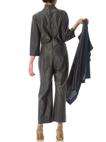 1970S Silver Metallic Poly Blend Jumpsuit With Matching Long Vest
