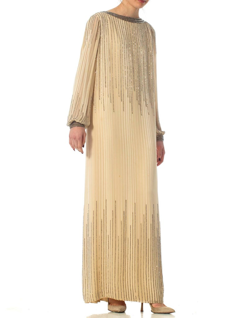 1970S Champagne Beaded Silk Chiffon Stripe Backless Tunic Cut Long Sleeve Boho Gown