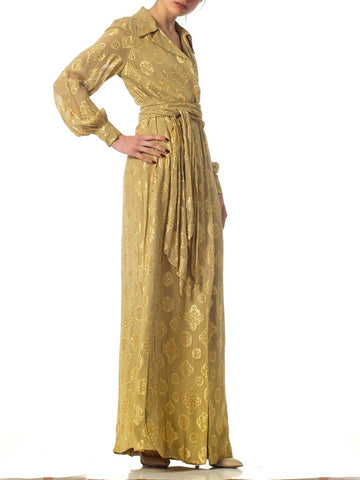 1970S Champagne Gold Lamé Silk Nice Size, Comes With Same Fabric Scarf/Belt. Gown
