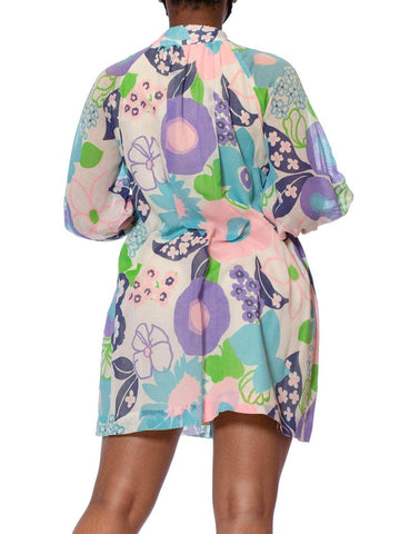1960S Floral Cotton Lawn Mod Lounge Jacket Mini Dress