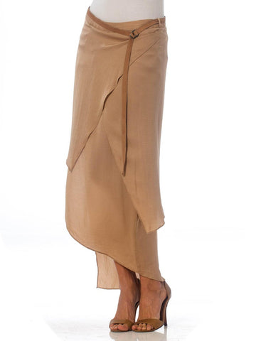 1990'S HELMUT LANG Beige Silk Charmeuse Asymmetrically Draped Skirt